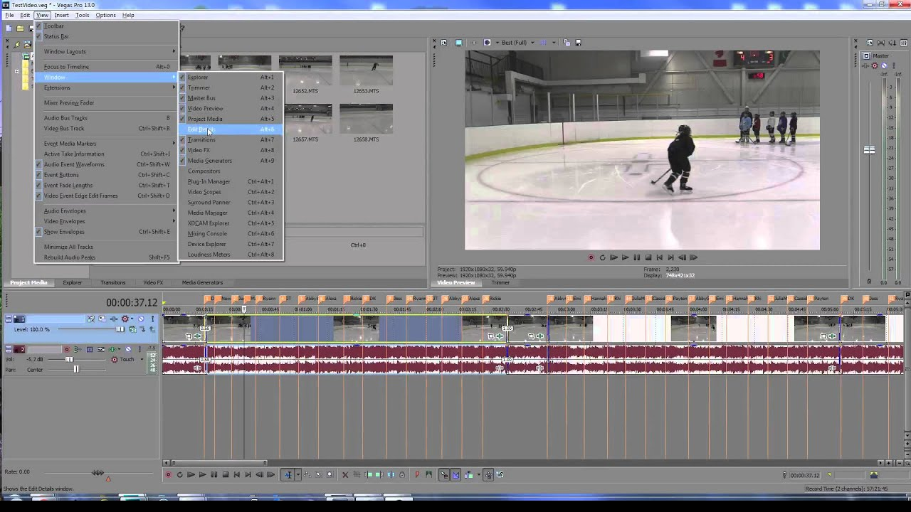 Sony Vegas - Exporting Marker Timeline Annotations - Edit Details Window - Vimeo Jump links