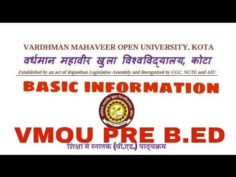 Vmou pre bed full detail/Vardhmaan mahaveer open university pre B.ed exam basic information
