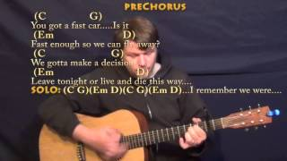 Fast car (tracy chapman) guitar lesson chord chart with on-screen lyrics - capo 2nd