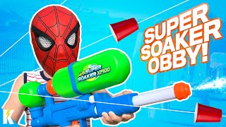 Super Hero NERF SUPER SOAKER OBBY with GEAR TEST TRIVIA! KIDCITY