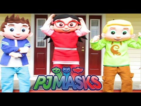 PJ Masks Heroes In Real Life with Catboy, Connor, Owlette, Paw Patrol Rubble, Trolls Movie