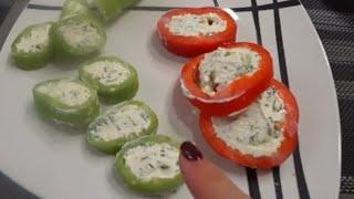 Фаршированные перцы с сыром . Закуска . Легкий рецепт . Как приготовить болгарский перец