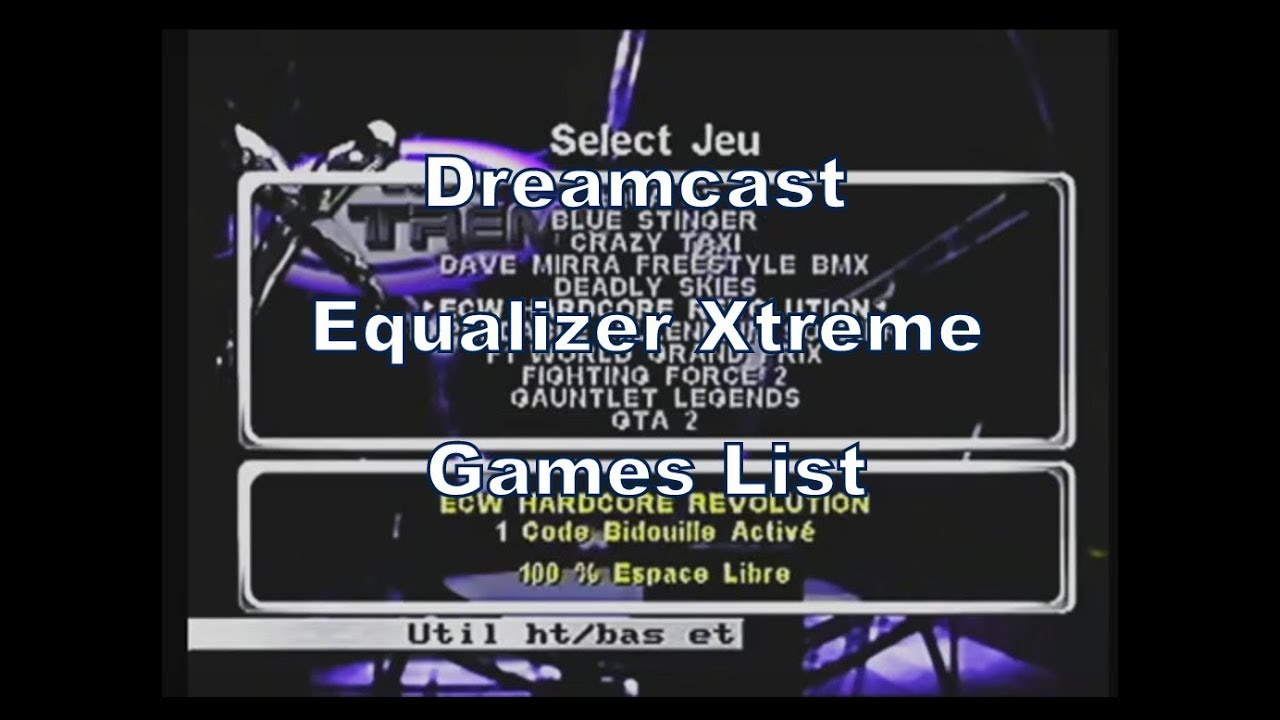 Equalizer Xtreme (Cheat Disc) for the Dreamcast Games List (Works on