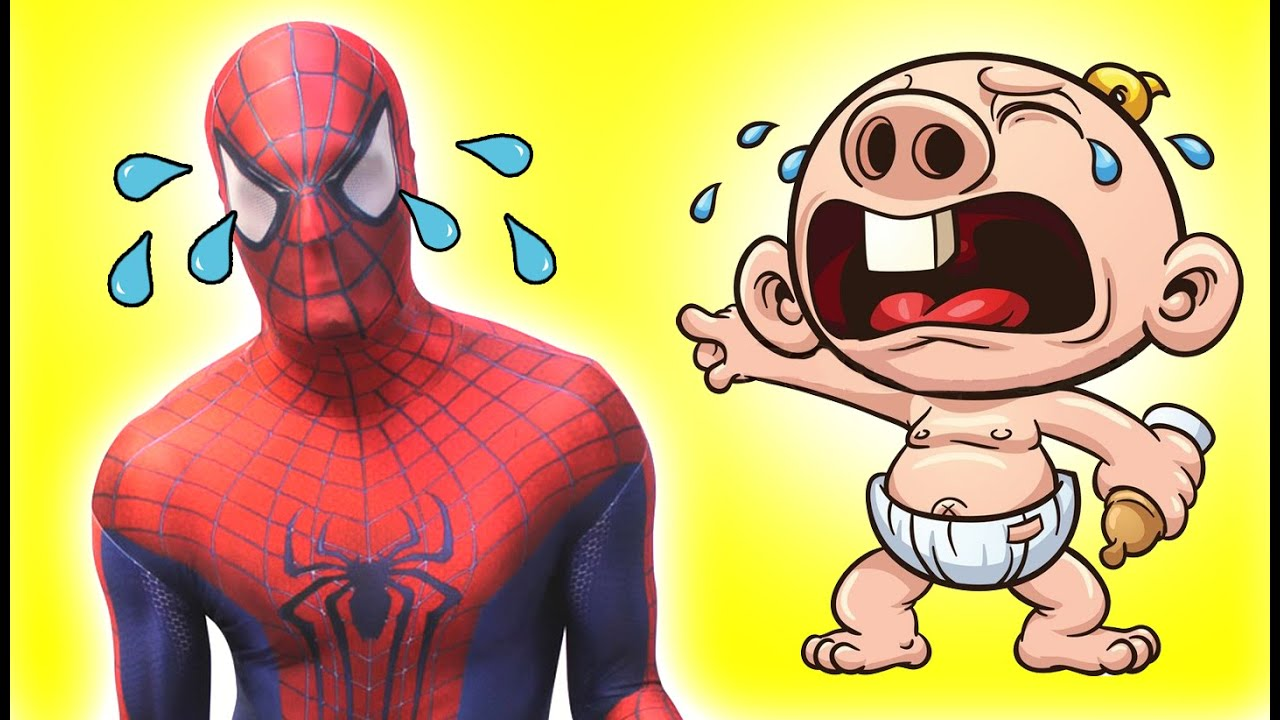 Spiderman Is Crying Lika A Baby Spiderman Cries Spiderman - Awesome video baby spiderman dancing