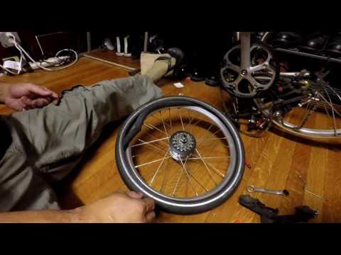 Brompton Rear Wheel Removal, Patching of Punctured inner tube and Refit