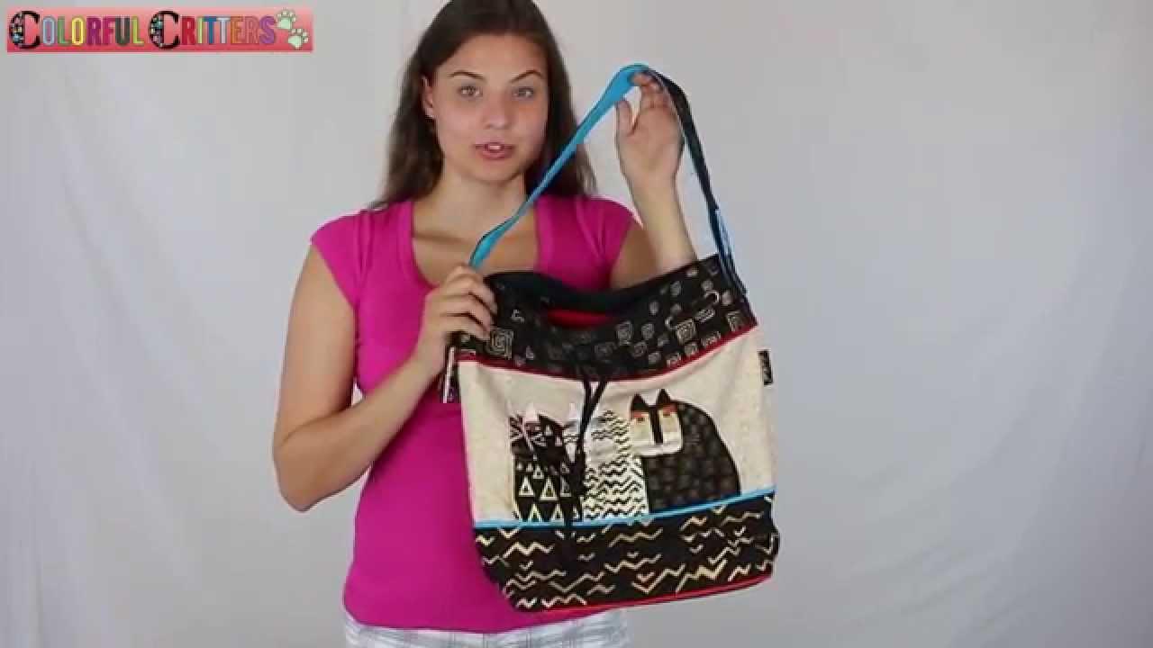 Laurel Burch Wild Cats Drawstring Tote Bag LB5344 - YouTube