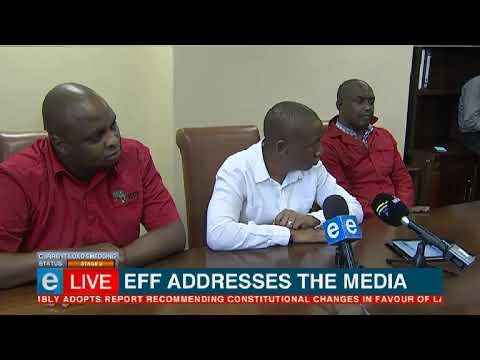 EEF lead Julius Malema speaks to the media