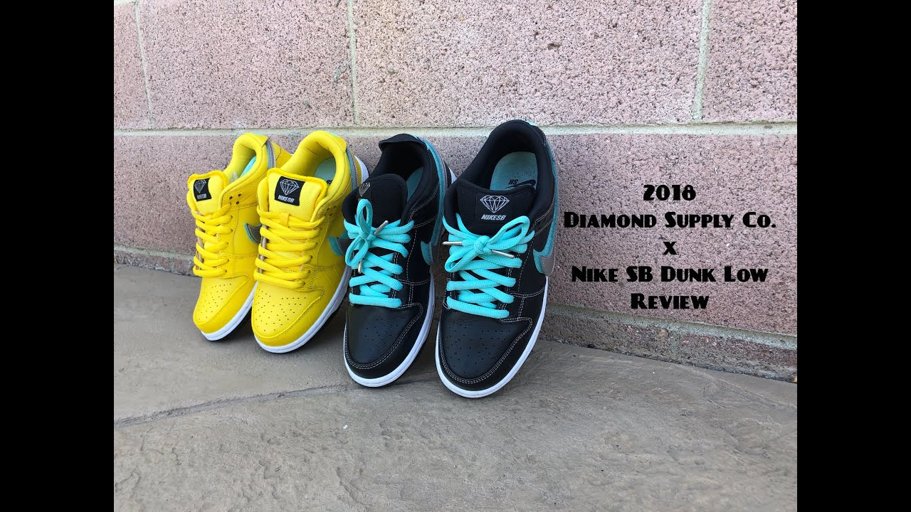 "new style bc455 7d980 Diamond Supply Co x Nike SB Dunk Low ""Black""   ""Canary Yellow"" Review Video"
