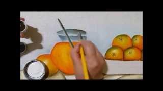 Pintando laranjas e jarra com suco (transparência) por Claudia Beatris
