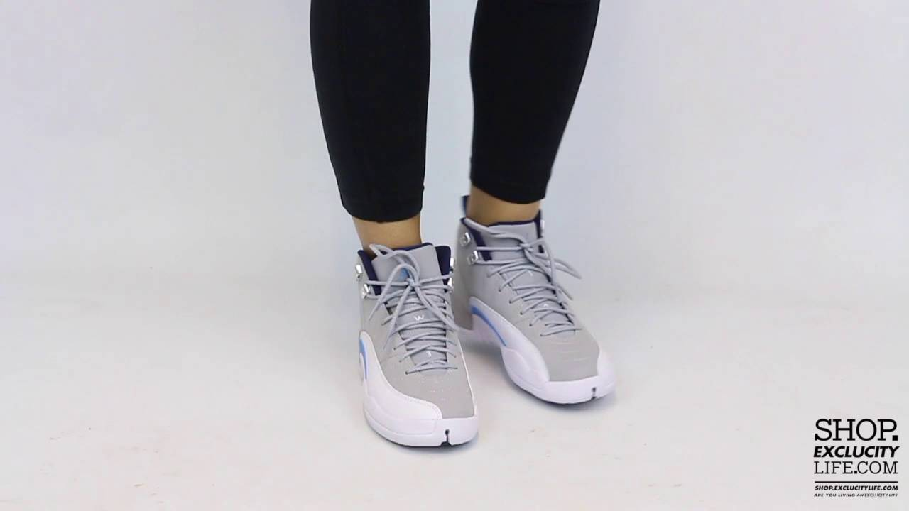 e199fa3bcfd3 Women s Air Jordan 12 Retro UNC On feet Video at Exclucity - YouTube