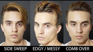 3 Quick & Easy Hairstyles for Medium Hair + Men's hair 2016