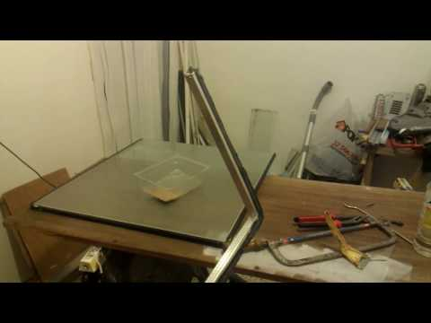 Cutting double glazed window.