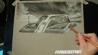 1963 Corvette Stingray Split Window Charcoal Drawing Timelapse
