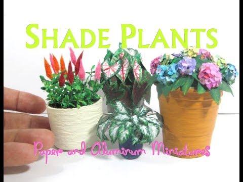 Dollhouse Miniature Paper and Aluminum Shade Flowers Plants Hostas, Caladiums, Astilbes, Hydrangeas