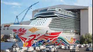 Big ship launch: Float out of cruise ship Norwegian Joy at Meyer Werft shipyard