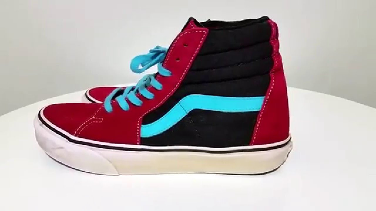 46c0140f9556 VANS off the wall skating blue black red Mens Sz 8 Womens Sz 9.5 shoes  EXCELLENT
