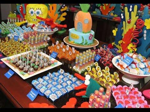 Fiesta de bob esponja ni o infantil mesa de dulces adornos - Mesa dulce infantil ...