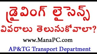 driving licence details transport department manapc
