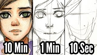 【SPEED DRAWING CHALLENGE】10 Minutes, 1 Minute, 10 Seconds