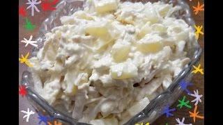 "Салат из курицы и ананаса с сыром ""Дамский"" /Chicken salad and pineapple with cheese"