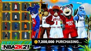 Winning a Game using EVERY MASCOT in NBA2K21! Spending 7.2 MILLION VC & UNLOCKING EVERY MASCOT 2K21!