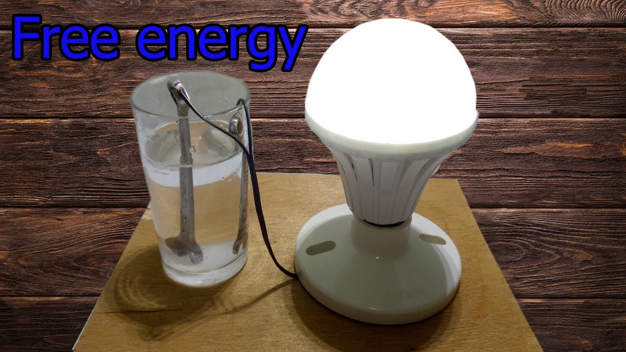 How to make free energy Salt water with light bulb very easy - Science project Experiment 2018 #1