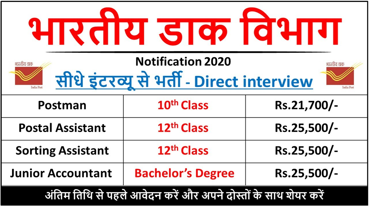 Indian Post Office Recruitment 2020 Post Office Vacancies 2020 Post Office Jobs 2020 Youtube