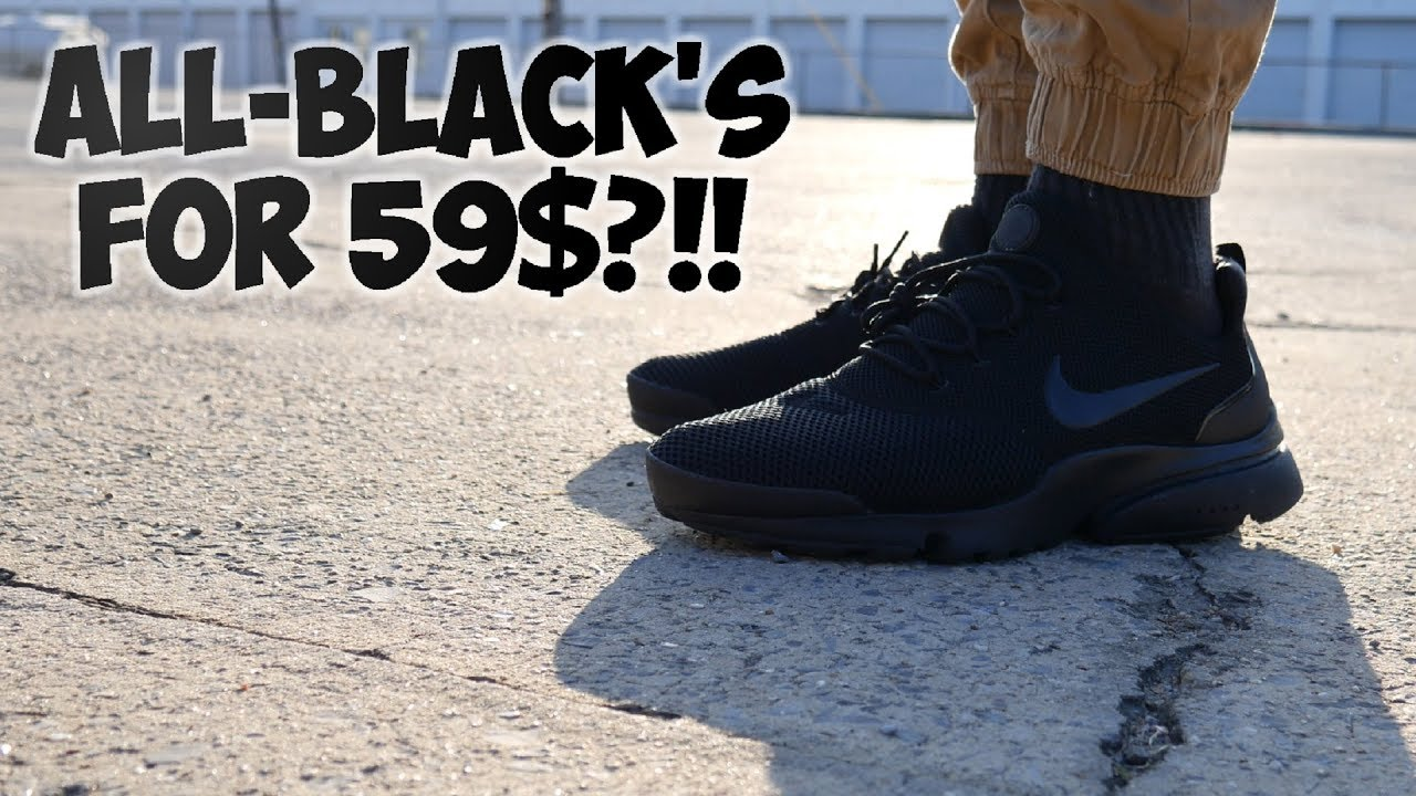 finest selection ef9a3 26f50 NIKE AIR PRESTO FLY (Triple Black) ON FEET Full Review!!  4k
