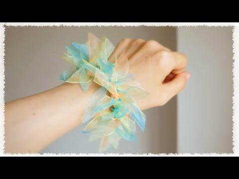 リボンを切って結ぶ簡単シュシュの作り方♪ diy scrunchie tutorial