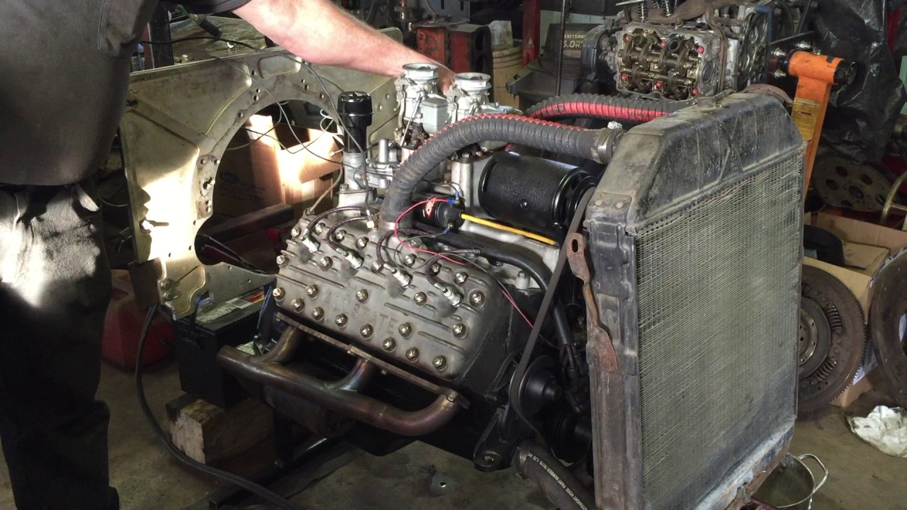 hot rodded flathead v8 engine test run pagoda city coupe [ 1280 x 720 Pixel ]