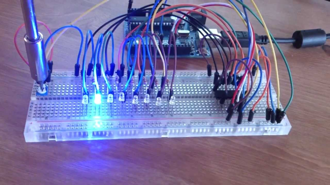 Using a shift register 74HC595N with Arduino