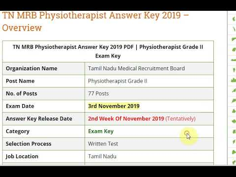 TN MRB Physiotherapist Answer Key 2019 PDF
