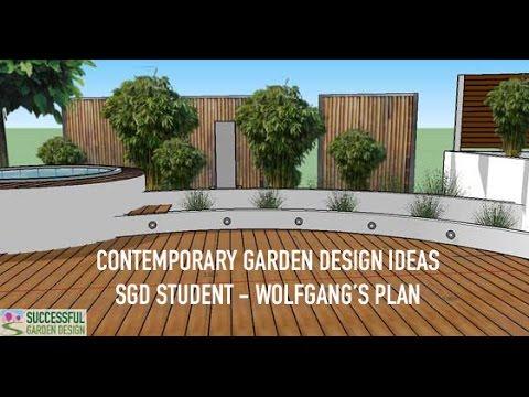 Contemporary Garden Ideas - for wide & awkward shape gardens - YouTube
