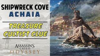 Shipwreck Cove, Achaia | Loot Treasure & Cultist Clue Location in Scavenger Cove | AC ODYSSEY