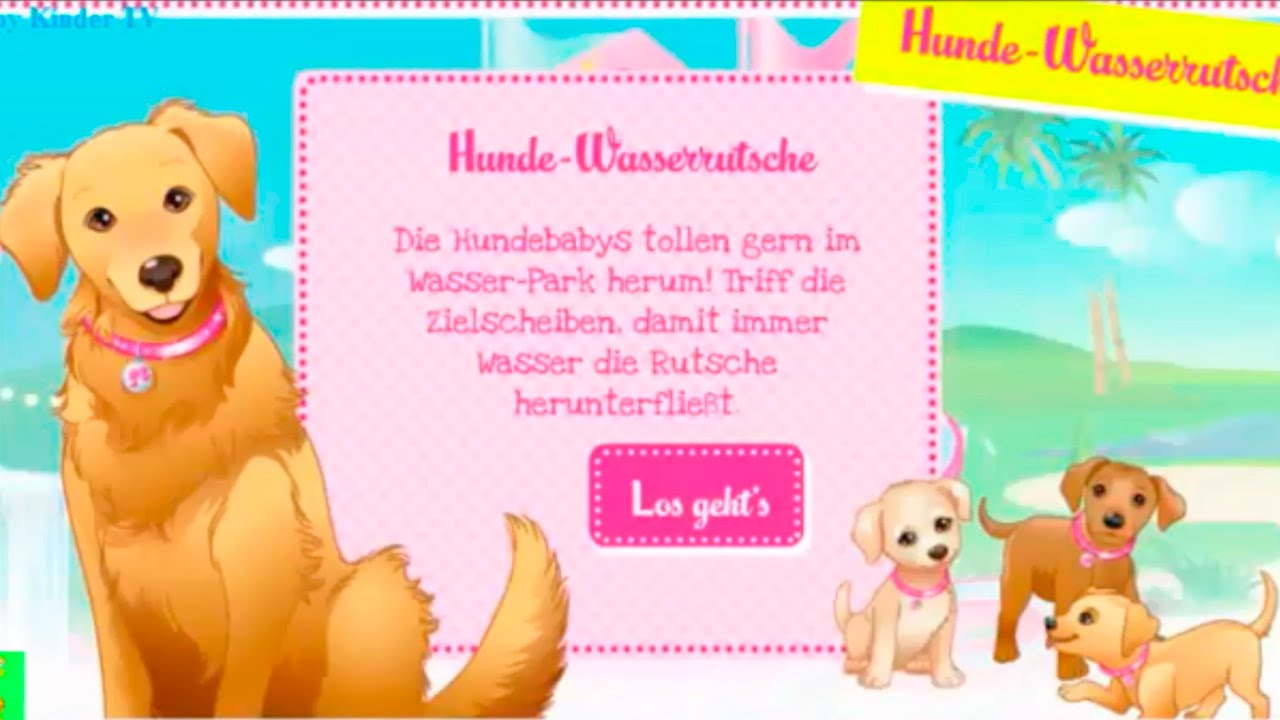 barbie spiele f r m dchen hund auf der wasserrutsche. Black Bedroom Furniture Sets. Home Design Ideas