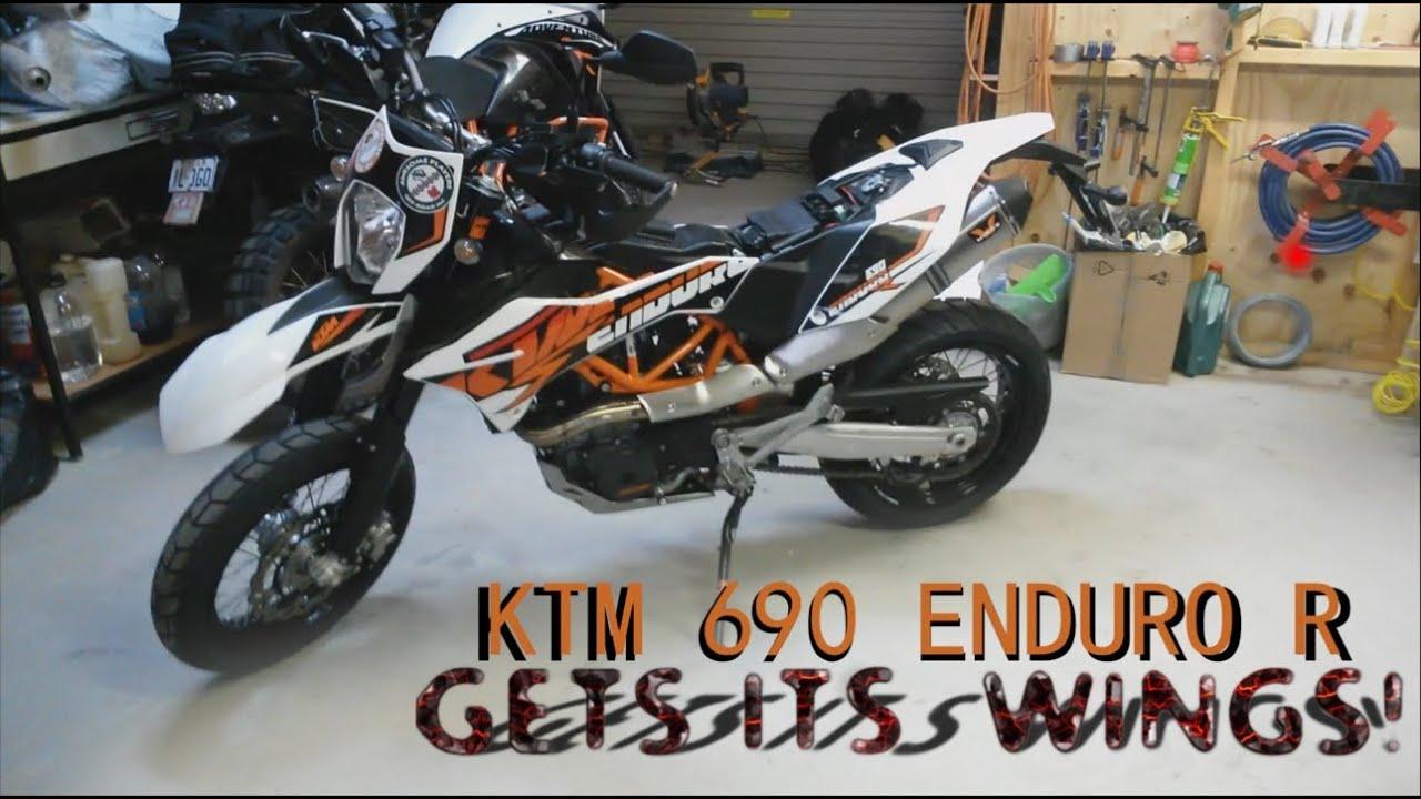 ktm 690 enduro r wings exhaust installation. - youtube