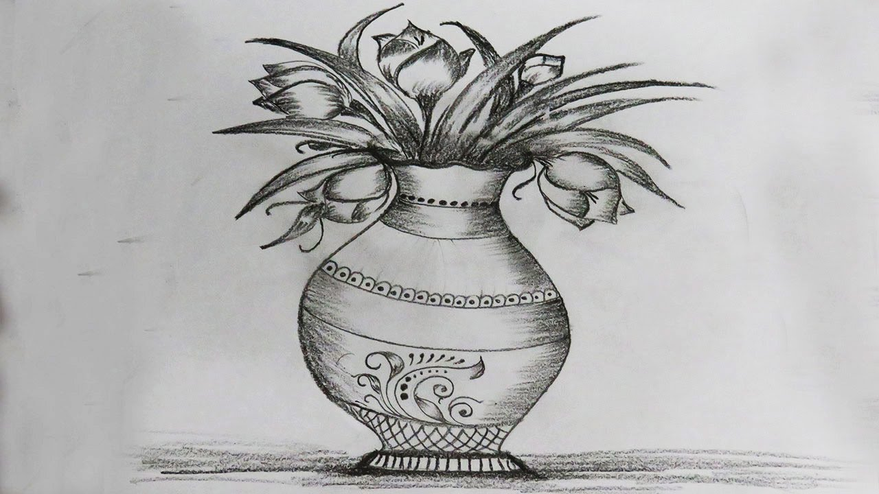 How To Draw Flower Vase Drawing For Beginners Very Easy Step By