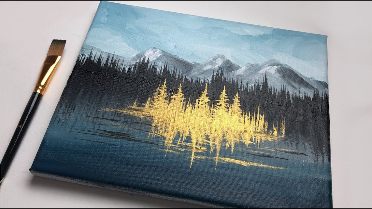 Magical Golden Forest Acrylic Painting For Beginners
