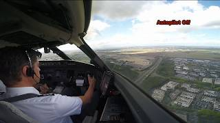 Cockpit View: Extreme Crosswind Landing in Paris (without tone)