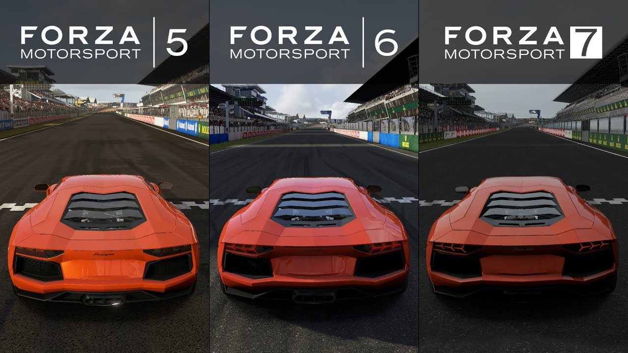 Forza 7 Vs Forza 6 Vs Forza 5 2012 Lamborghini Aventador Lp700 4 Sound Comparison Youtube