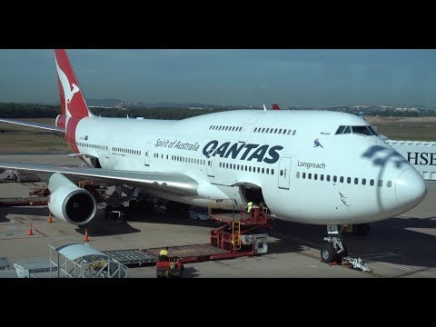 QANTAS Boeing 747-400ER / Brisbane to Los Angeles / 4K VIDEO !