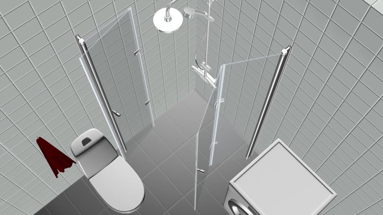 Trångt badrum? Cyclone är ett duschhörn med vikbara glasväggar ...