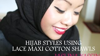 HIJAB STYLES FEATURING LACE MAXI COTTON SHAWLS AND LATEST IN TREND...TYPO TEES!