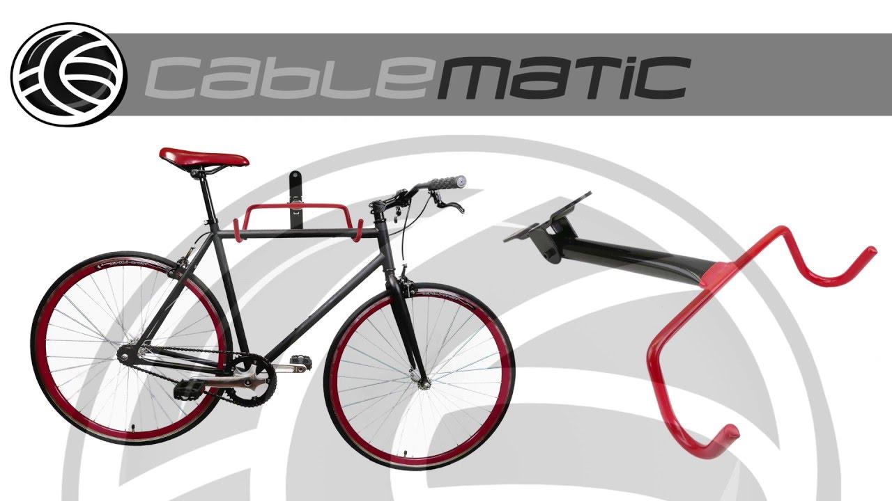 soporte de pared con gancho plegable para colgar bicicleta distribuido por cablematic youtube