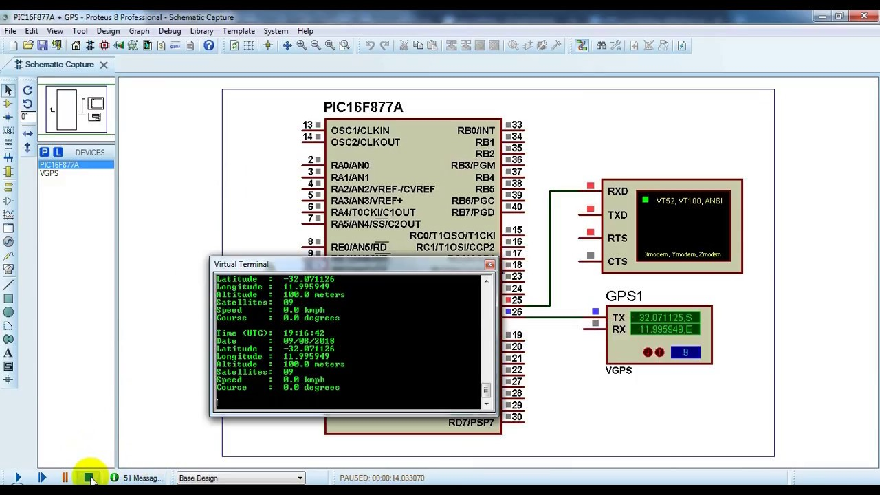 Interfacing PIC16F877A with GPS module - Proteus simulation