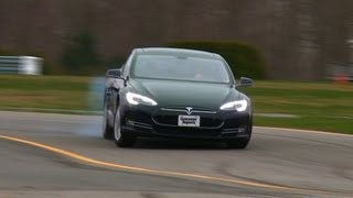 Tesla Model S drifting at the Consumer Reports test track | Consumer Reports