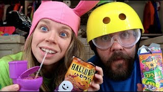 Tasting Halloween Snacks from JAPAN with my BOYFRIEND! - Trick Candy & Toilet Candy