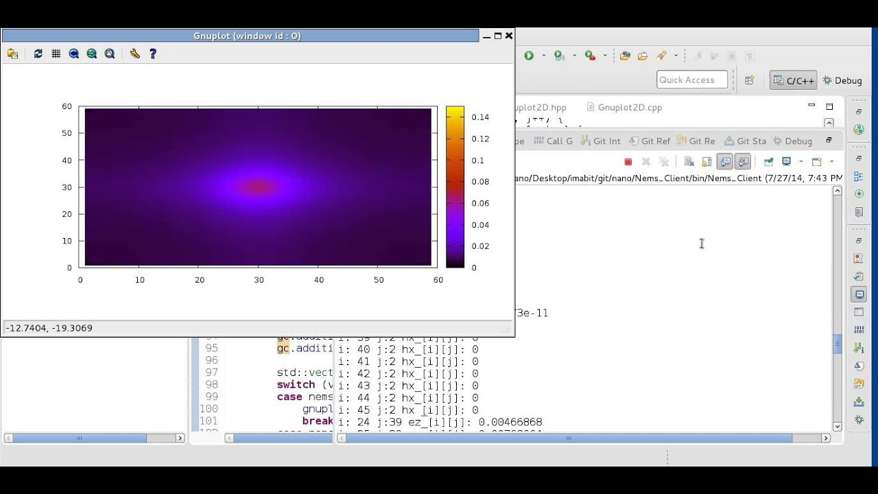 FDTD 2D Real-Time Gaussian Pulse in Free Space Without PML
