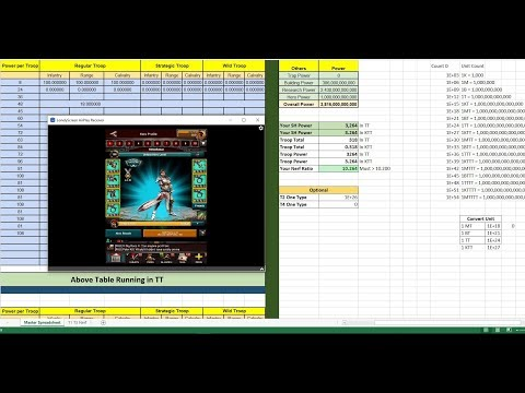 Game Of War: How to Adjust Nerf Spread Sheet to TT and KTT while taking test from Hero 200