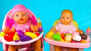 Learn Fruit Vegetables & Colours in English by feeding Baby Born doll & Bitty Baby AG toy
